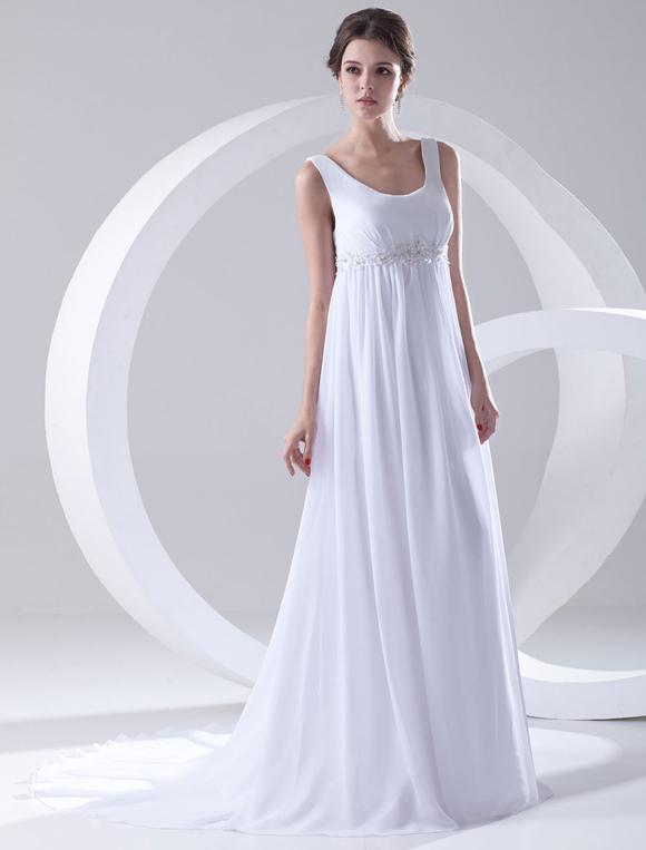 Robe de mariage taille empire blanche en chiffon encolure for Robes de mariage de taille empire
