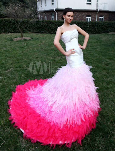 Pink Wedding Dress Feathers : Mermaid strapless feather satin wedding dress milanoo