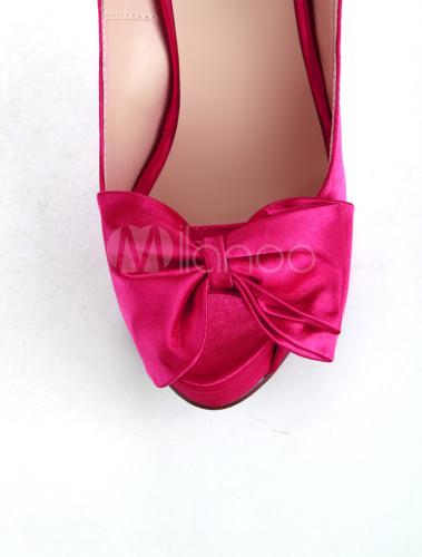chaussures en satin fuchsia avec nud et talon haut no3 - Chaussure Fushia Mariage