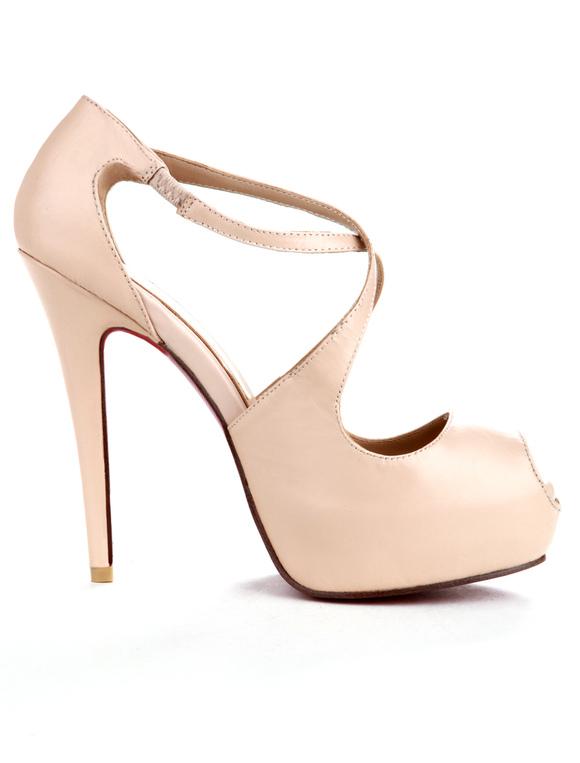 nude color criss cross pu peep toe womens dress sandals no - Sandale Colore
