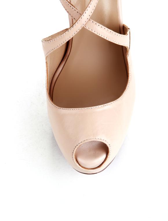 nude color criss cross pu peep toe womens dress sandals no3 - Sandale Colore