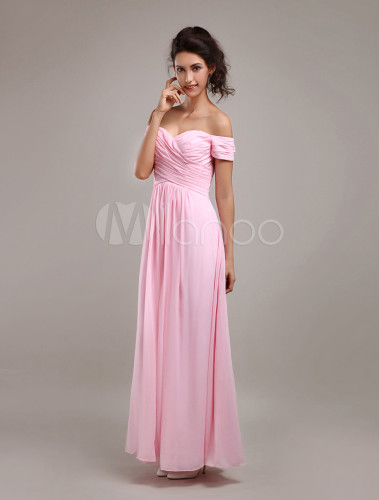 Glamorous Pink Chiffon A-line Maxi Bridesmaid Dress - Milanoo.com
