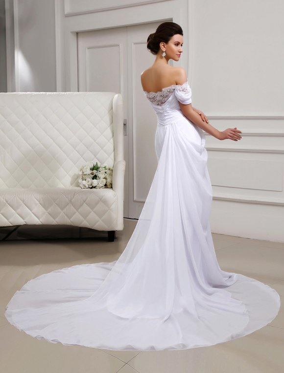 Off The Shoulder Strapless White Wedding Dress Milanoo