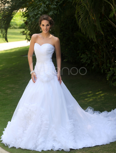 Robe de mariée fabuleuse A-ligne blanche en tulle avec plissement à ...