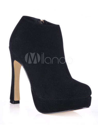 Black Platform Flannel Womens High Heel Ankle Boots - Milanoo.com
