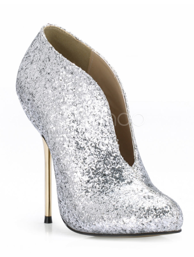 Modern Silver Round Toe Spike Heel Sequined Cloth Women's High ...