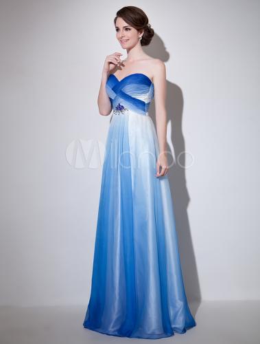 Robe de soirée A,ligne en chiffon bleu royal avec perles Milanoo,No.
