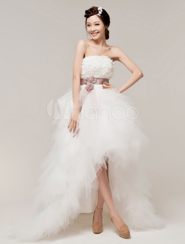 White Strapless Floral Organza Bridal High Low Wedding Dress