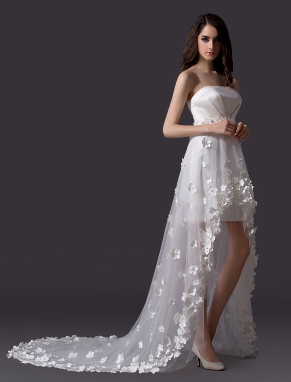 High Low Beach Wedding Dress with Petals - Milanoo.com