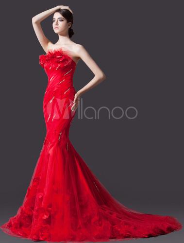 Robe de mariée bustier sirène en velours rouge avec fleur - Milanoo ...