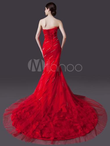 Red Mermaid Strapless Flower Court Train Bridal Wedding Gown ...