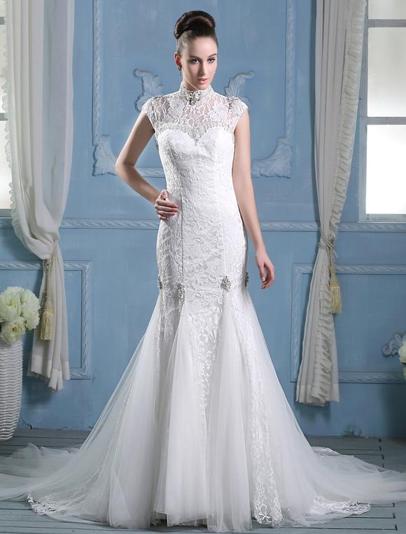 Robe de mariage exquise sirène en dentelle avec perles col roulé ...