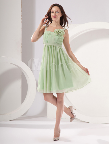 Modern Light Green Square Neckline A-line Chiffon Bridesmaid Dress ...