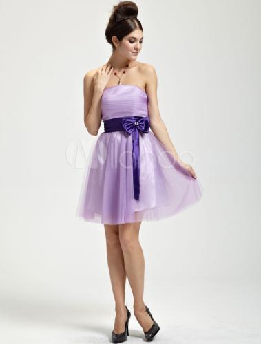 Vestido de damas de honor de tul de color lila sin - Colores que combinan con lila ...