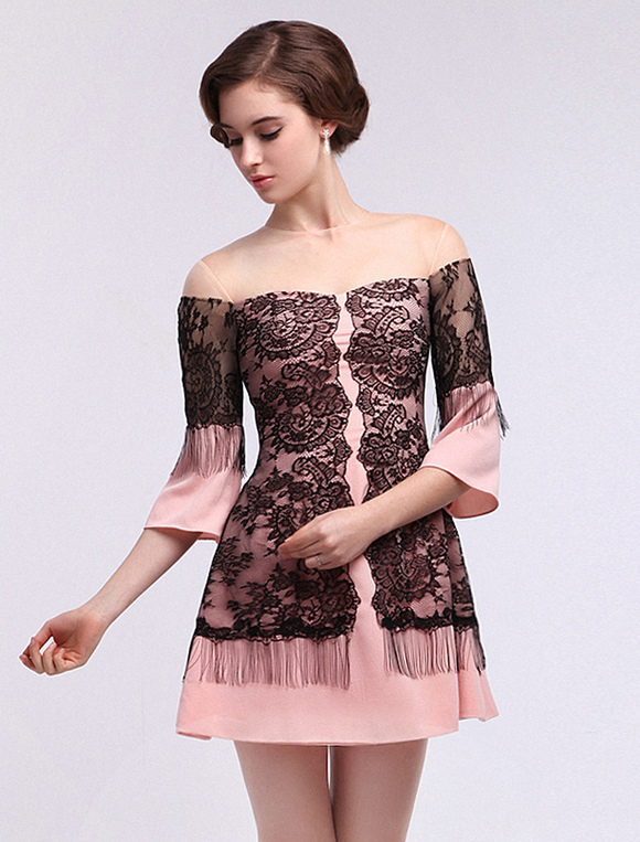 Pink A-line Lace Jewel Neck 3/4 Length Sleeves Chiffon Elegant ...