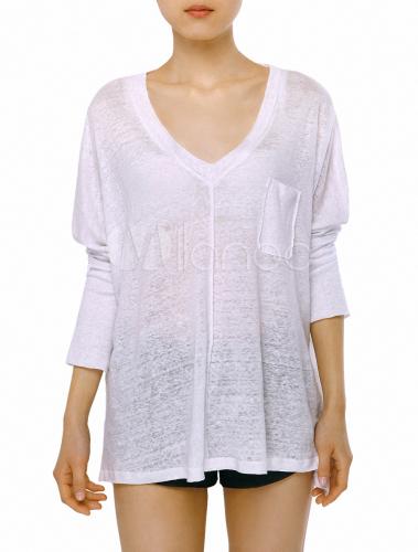 couleur unie lin blanche haute conception bas manches longues t shirt col v pour femmes. Black Bedroom Furniture Sets. Home Design Ideas