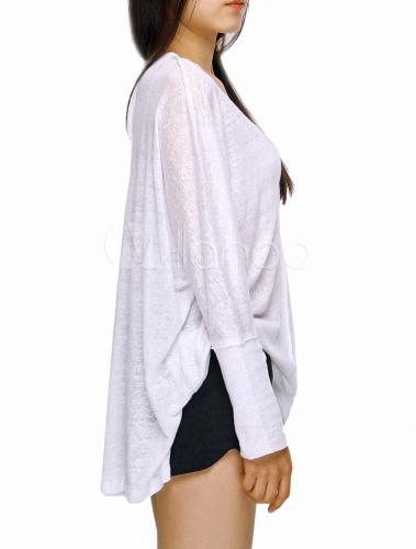 White linen solid color high low design long sleeves v for Long white v neck t shirt