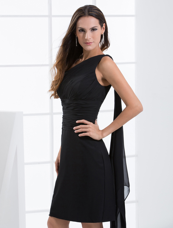 Black One-Shoulder Chiffon Cocktail Dress - Milanoo.com