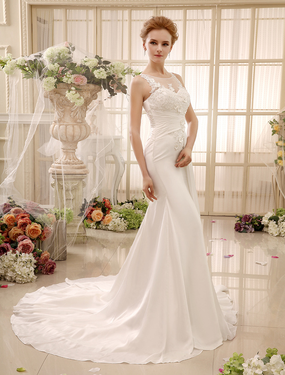 chapel train beading ivory mermaid bridal wedding gown
