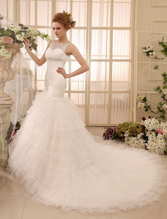 mermaid chapel train rhinestone ivory brides wedding dress