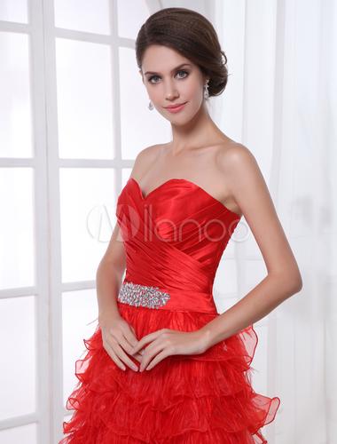 organza prom kleid mit herz ausschnitt und r schen in rot. Black Bedroom Furniture Sets. Home Design Ideas