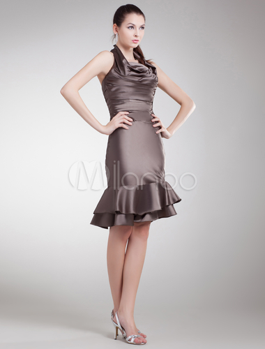 Brown Tiered Halter Elastic Woven Satin Short Fashion