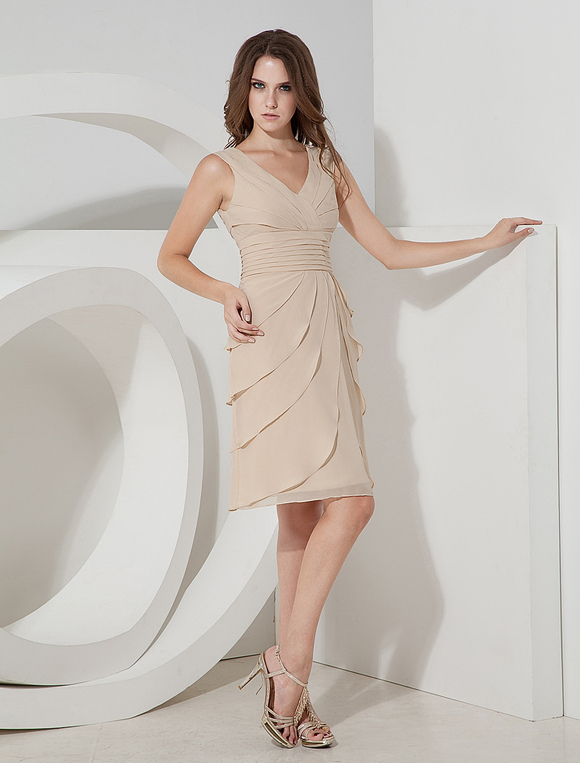 Tiered V-Neck Chiffon Cocktail Dress - Milanoo.com