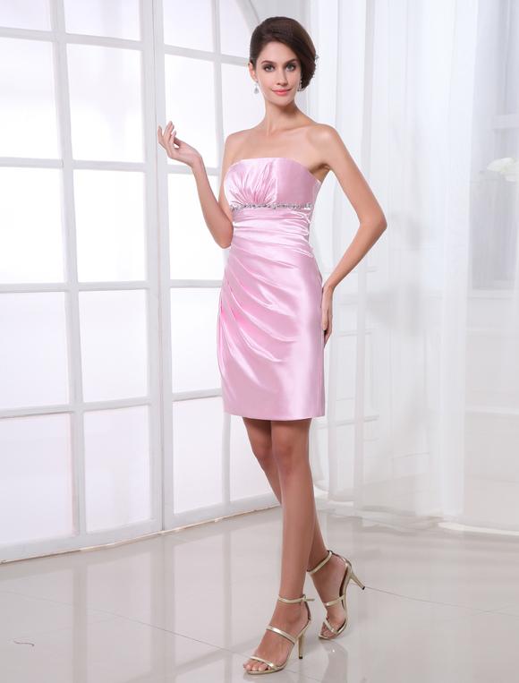 robe de soire fourreau rose en satin stretch bustier longueur genou no2 - Milanoo Robe De Soiree Pour Mariage