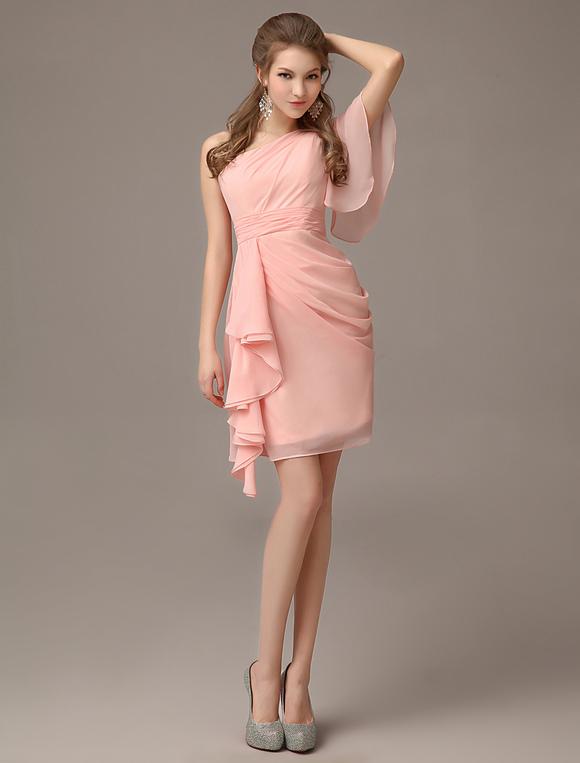 robe demoiselle d 39 honneur rose rougissant une paule. Black Bedroom Furniture Sets. Home Design Ideas