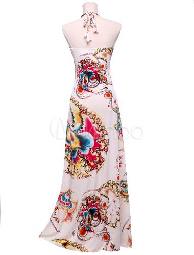 robe longue blanche imprime colore licou no2 - Robe Longue Colore