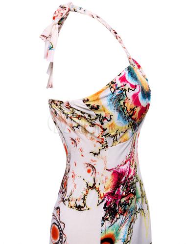 robe longue blanche imprime colore licou no3 - Robe Longue Colore