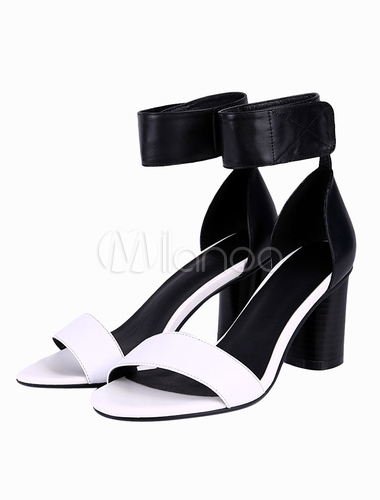 Black And White Chunky Heels - Qu Heel