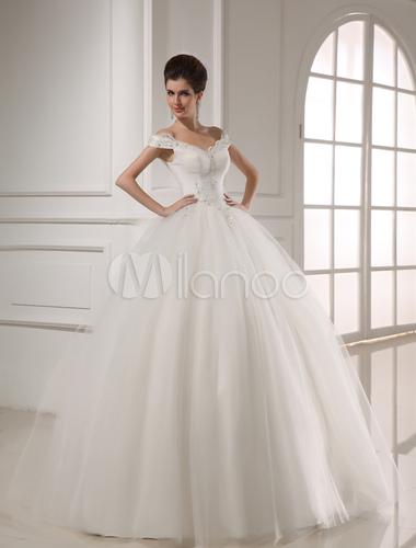 Robe de mariée en tulle blanc clouté hors de