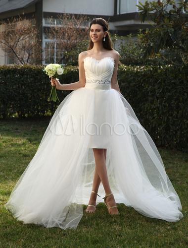 Brautkleid aus Organza mit Herz-Ausschnitt und Falten und abnehmbarer ...