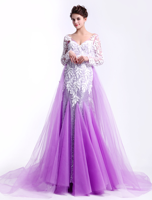 Lilac V-Neck Long Sleeves Lace Mermaid Tulle Fashion Prom Dress ...