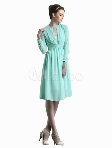 Mint Green Long Sleeves Chiffon Fashion Skater Dress for Woman ...