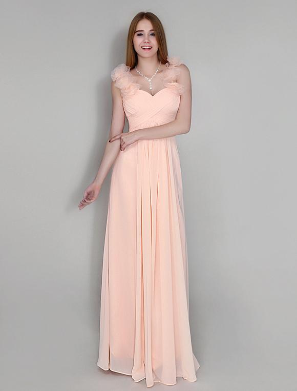 robe demoiselle d 39 honneur pliss e en chiffon rose. Black Bedroom Furniture Sets. Home Design Ideas