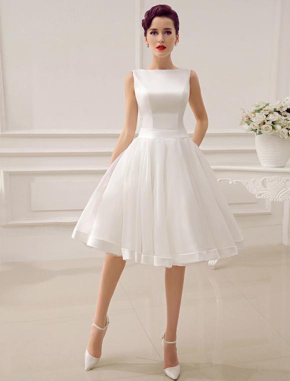 Short Wedding Dress Vintage Bridal Dress 1950s Bateau Sleeveless Reception Bridal Gown Milanoo