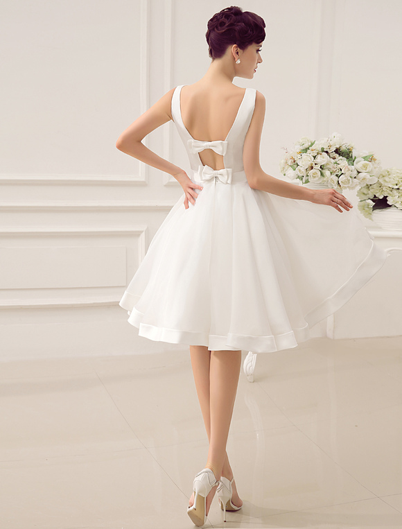 Short Wedding Dress Vintage Bridal Dress 1950's Bateau Sleeveless ...