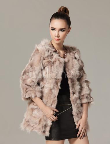 manteau femme en fourrure de renard avec manches 3 4. Black Bedroom Furniture Sets. Home Design Ideas