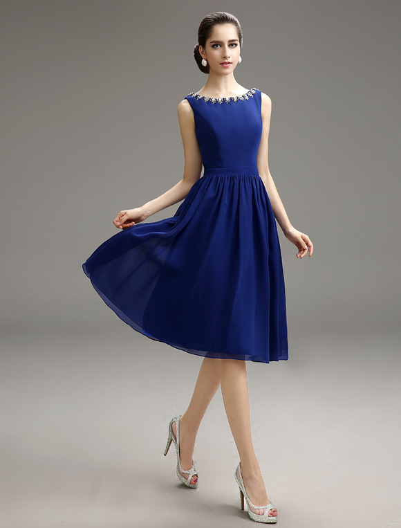 Royal Blue Knee Length Cocktail Dress