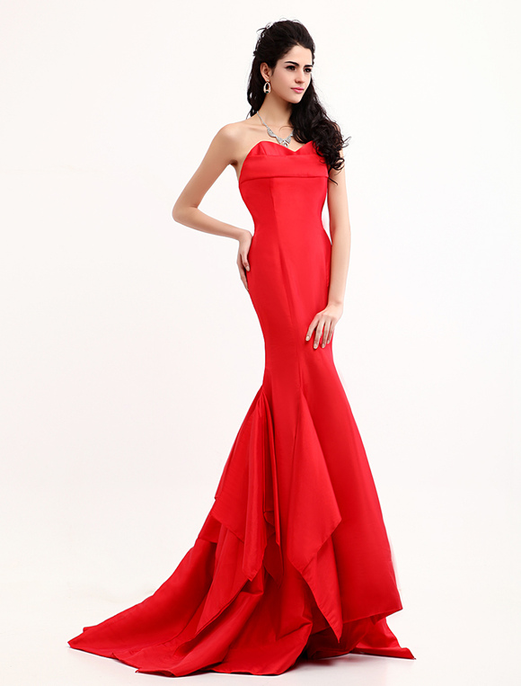 Red Evening Dress Mermaid Inspired by Emmy Awards - Milanoo.com