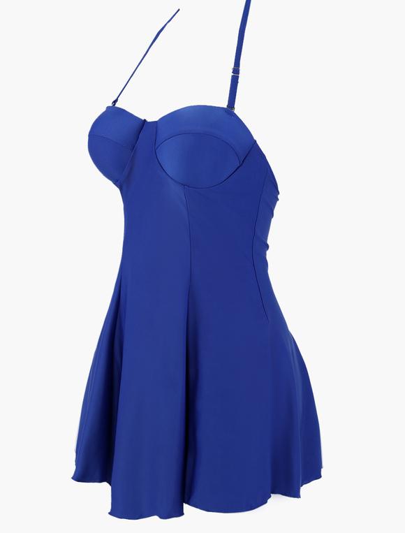 Vestidos De Baño Estilo Halter:Vestido de baño de lycra spandex con escote halter – Milanoocom