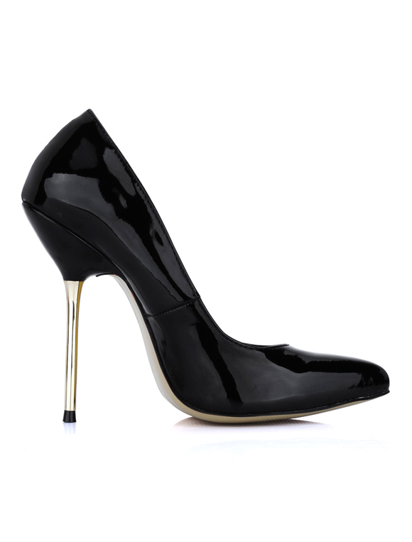 Sexy Black Pointed Toe Stiletto Heel Patent Leather Woman's High ...