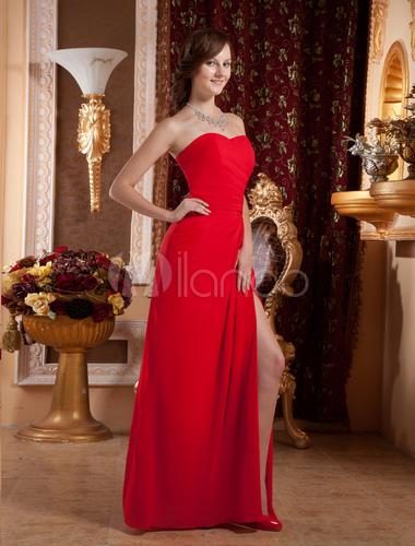 robe de gossip girl rouge bustier fendue en chiffon. Black Bedroom Furniture Sets. Home Design Ideas