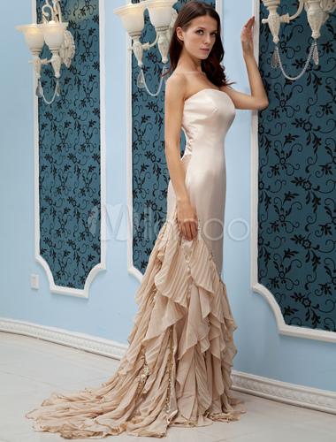 Champagne Chiffon Strapless Mermaid Trumpet Cameron Diaz Oscar Dress