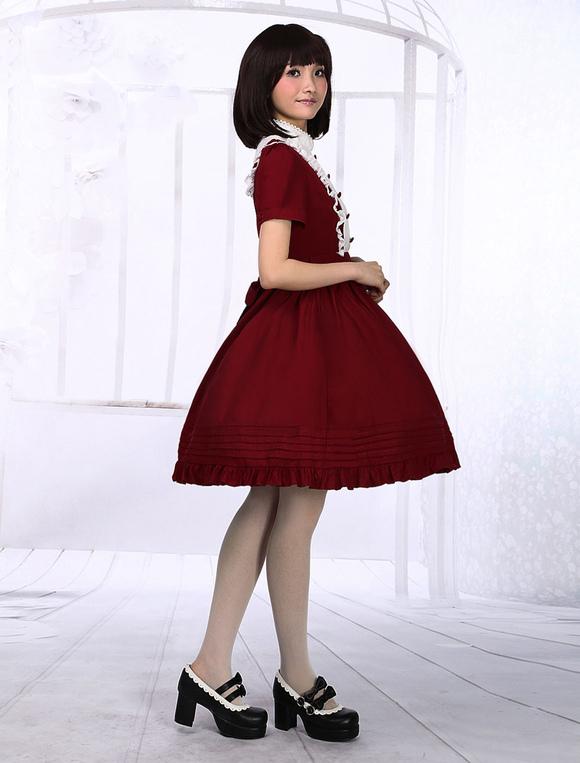 Dark Red Cotton Lolita One-piece Dress Short Sleeves Stand Collar ...