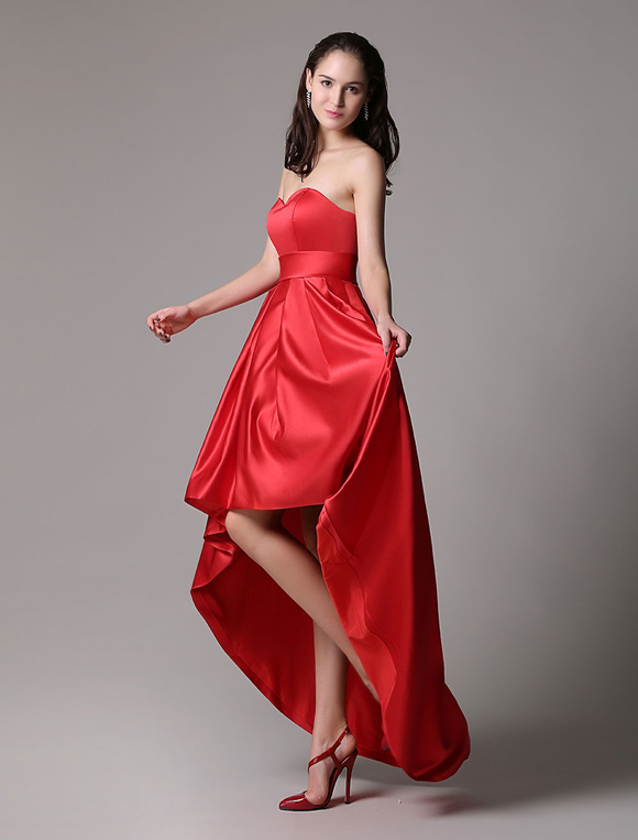 Red Prom Dresses 2017 Short Strapless Backless Cocktail