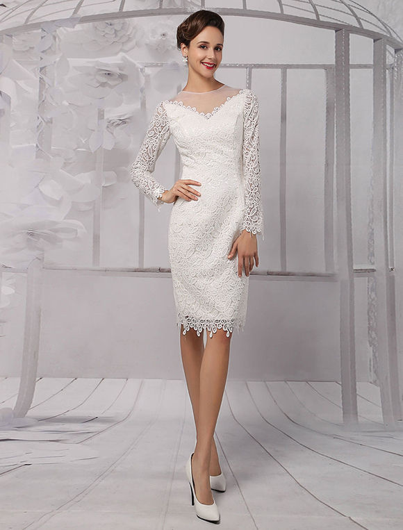 Lace illusion neckline long sleeves knee length sheath for Wedding dress knee length with sleeves
