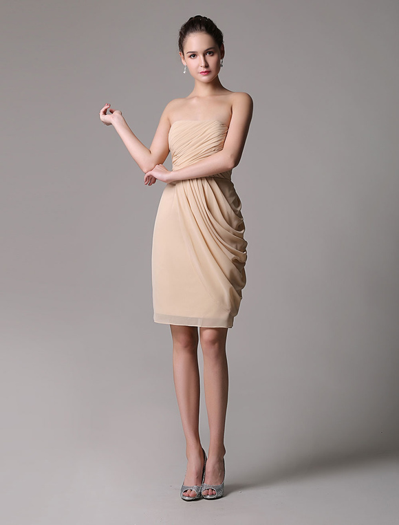 Champange Chiffon Cocktail Dress With Ruched Bodice And